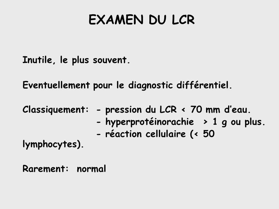 EXAMEN DU LCR Inutile, le plus souvent. Eventuellement pour le diagnostic différentiel. Classiquement:- pression du LCR < 70 mm deau. - hyperprotéinor