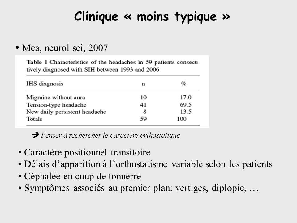Clinique « moins typique » Mea, neurol sci, 2007 Caractère positionnel transitoire Délais dapparition à lorthostatisme variable selon les patients Cép