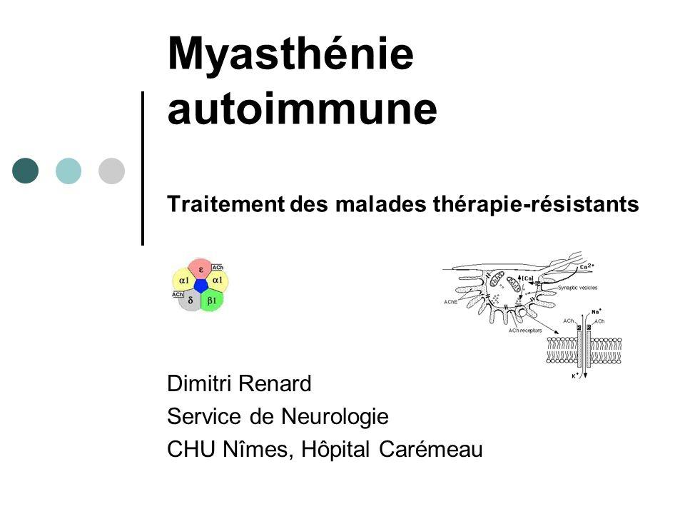 Quelques questions à se poser Diagnostic Différentiel Myasthénie congénitale RAC -, EMG + LES MI, EMG incrément Mitochondriale sévérité ophthalmoparésie rarement diplopie symétrique non-fluctuante Dystrophie musculaire oculopharyngée >50 ans Ptosis > Ophthalmoparésie Dysthyroidie Lésionnelle IRM Symptômes myasthéniques.