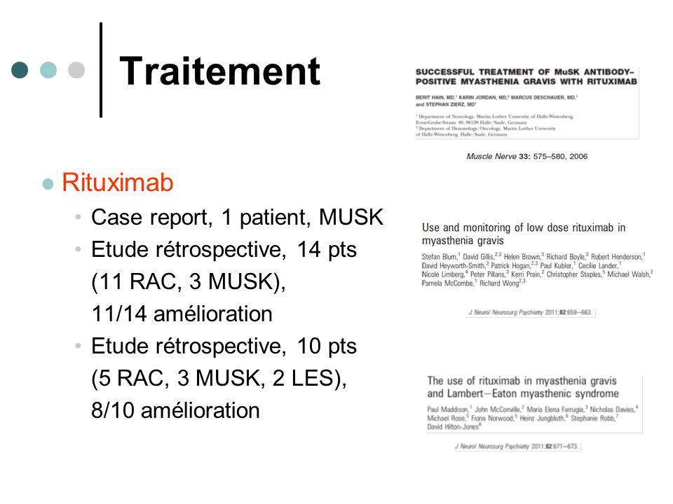 Traitement Rituximab Case report, 1 patient, MUSK Etude rétrospective, 14 pts (11 RAC, 3 MUSK), 11/14 amélioration Etude rétrospective, 10 pts (5 RAC, 3 MUSK, 2 LES), 8/10 amélioration