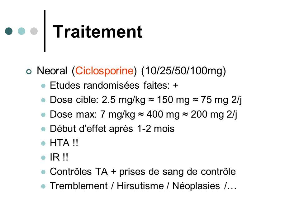 Traitement Neoral (Ciclosporine) (10/25/50/100mg) Etudes randomisées faites: + Dose cible: 2.5 mg/kg 150 mg 75 mg 2/j Dose max: 7 mg/kg 400 mg 200 mg 2/j Début deffet après 1-2 mois HTA !.