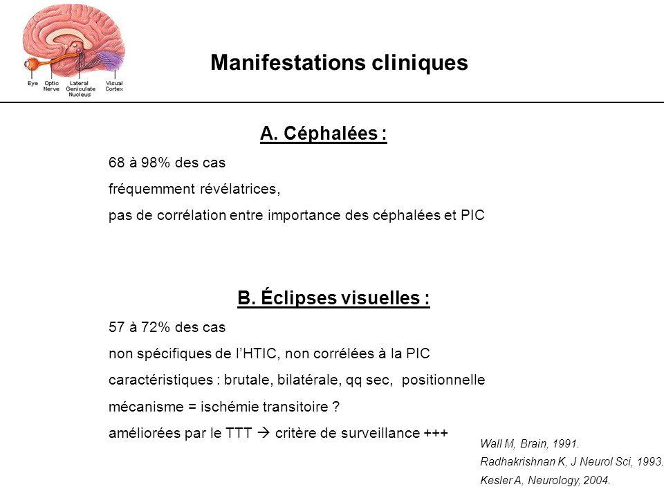 Manifestations cliniques A. Céphalées : 68 à 98% des cas fréquemment révélatrices, pas de corrélation entre importance des céphalées et PIC B. Éclipse