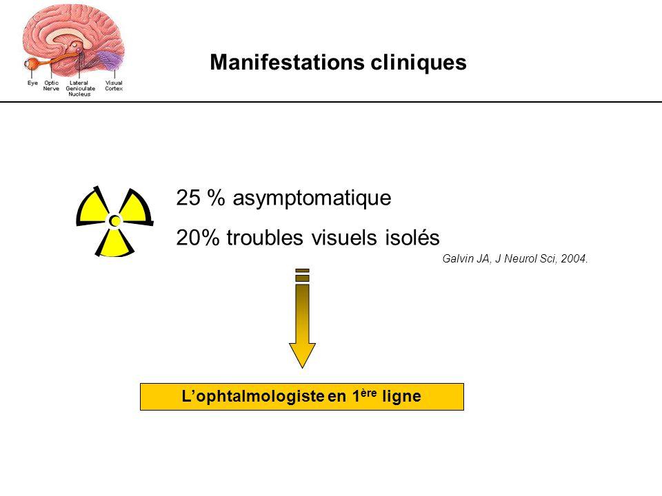 Manifestations cliniques Galvin JA, J Neurol Sci, 2004. 25 % asymptomatique 20% troubles visuels isolés Lophtalmologiste en 1 ère ligne
