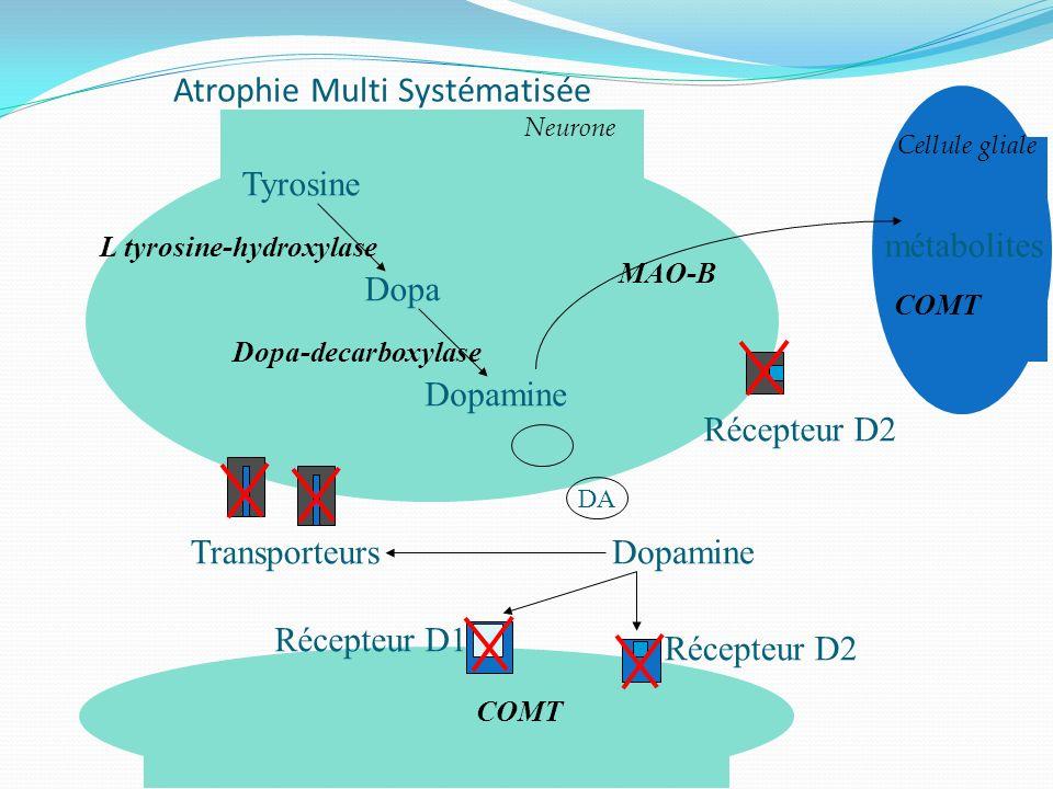 Atrophie Multi Systématisée Cellule gliale Tyrosine Dopa Dopamine Dopa-decarboxylase L tyrosine-hydroxylase Dopamine COMT Récepteur D2 Récepteur D1 Tr