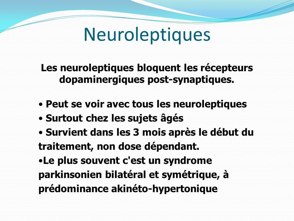 Neuroleptiques Les neuroleptiques bloquent les récepteurs dopaminergiques post-synaptiques. Peut se voir avec tous les neuroleptiques Surtout chez les