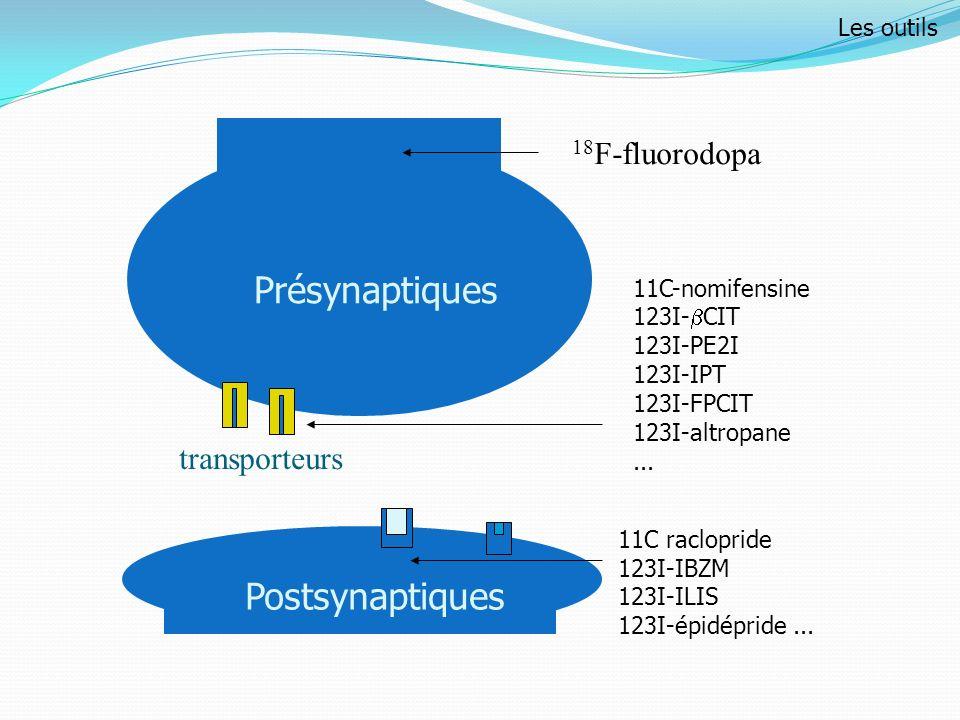 Postsynaptiques transporteurs Présynaptiques 18 F-fluorodopa 11C-nomifensine 123I- CIT 123I-PE2I 123I-IPT 123I-FPCIT 123I-altropane... 11C raclopride