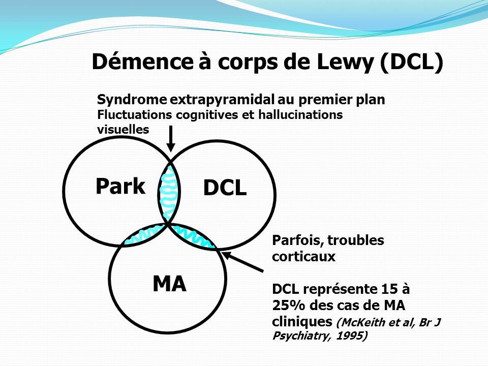 DCL MA Démence à corps de Lewy (DCL) Parfois, troubles corticaux DCL représente 15 à 25% des cas de MA cliniques (McKeith et al, Br J Psychiatry, 1995