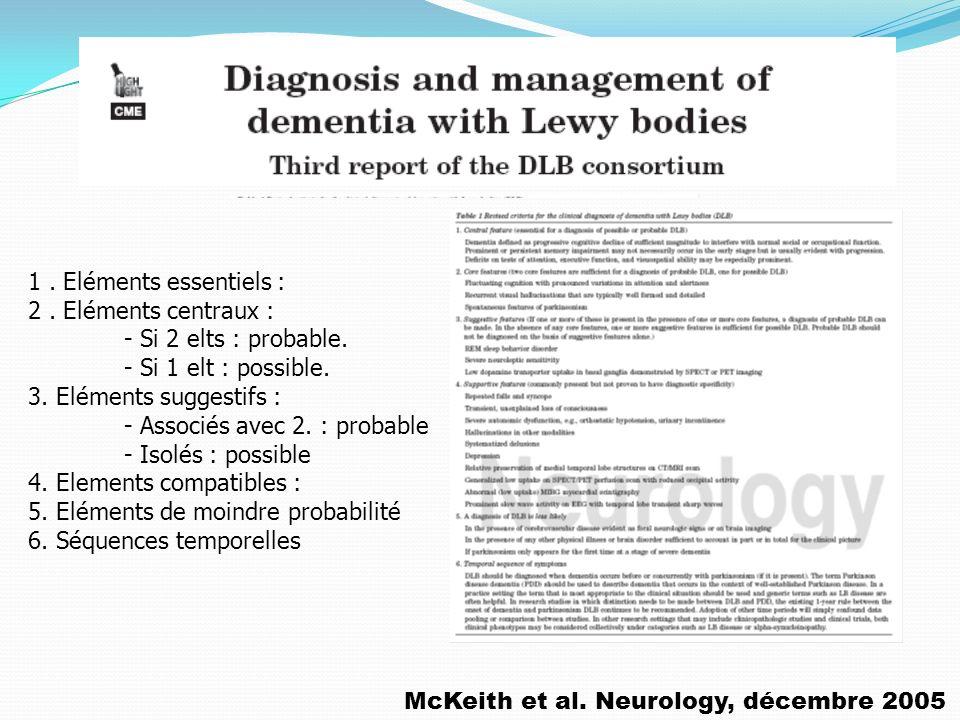 McKeith et al. Neurology, décembre 2005 1. Eléments essentiels : 2. Eléments centraux : - Si 2 elts : probable. - Si 1 elt : possible. 3. Eléments sug