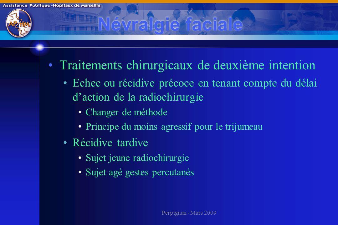 Perpignan - Mars 2009 Névralgie faciale Traitements chirurgicaux de deuxième intention Echec ou récidive précoce en tenant compte du délai daction de