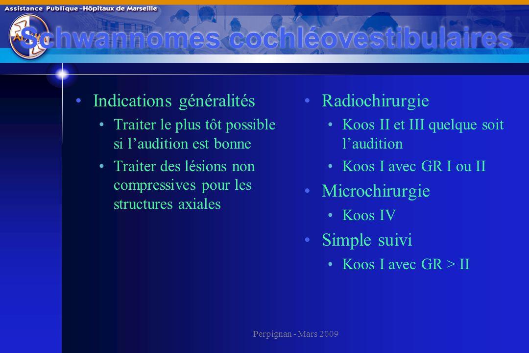 Perpignan - Mars 2009 Schwannomes cochléovestibulaires Indications généralités Traiter le plus tôt possible si laudition est bonne Traiter des lésions