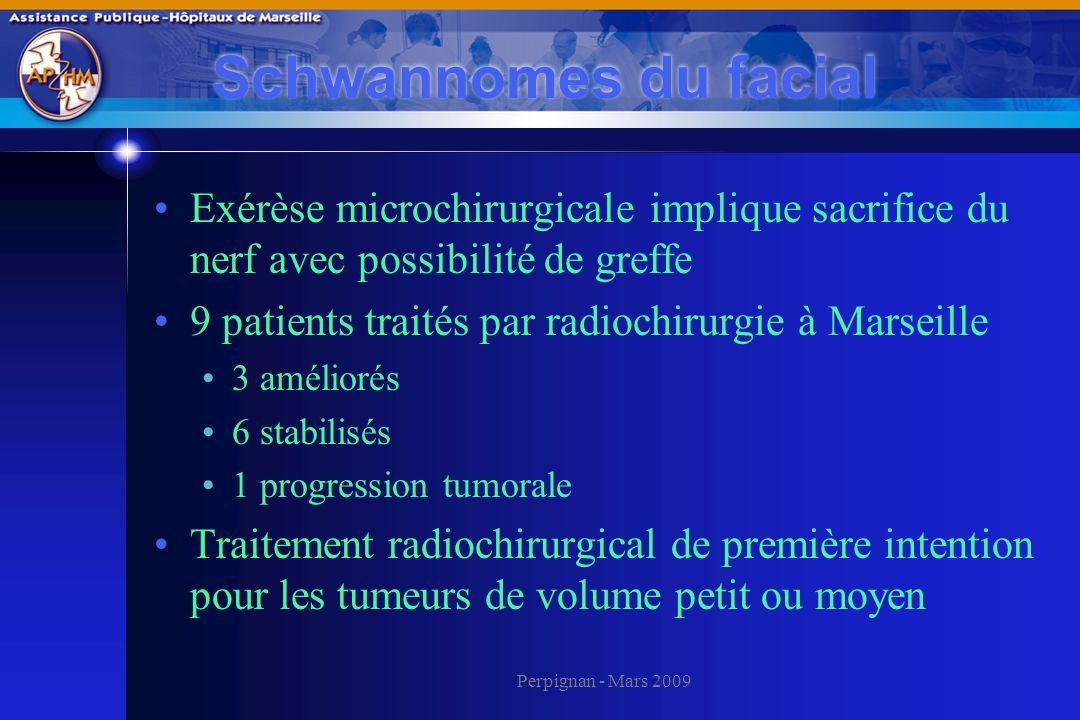 Perpignan - Mars 2009 Schwannomes du facial Exérèse microchirurgicale implique sacrifice du nerf avec possibilité de greffe 9 patients traités par rad