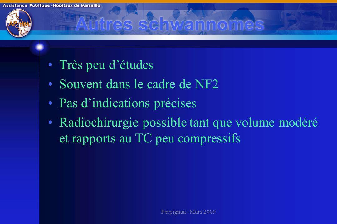 Perpignan - Mars 2009 Autres schwannomes Très peu détudes Souvent dans le cadre de NF2 Pas dindications précises Radiochirurgie possible tant que volu