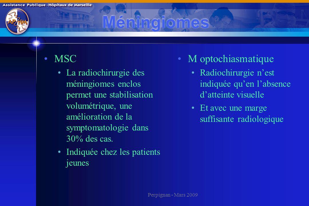 Perpignan - Mars 2009 Méningiomes MSC La radiochirurgie des méningiomes enclos permet une stabilisation volumétrique, une amélioration de la symptomat