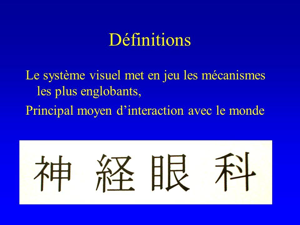 Définitions Le système visuel met en jeu les mécanismes les plus englobants, Principal moyen dinteraction avec le monde En japonais : « lophtalmologie du divin »