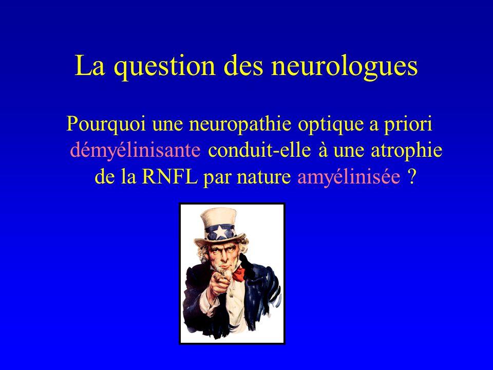 La question des neurologues Pourquoi une neuropathie optique a priori démyélinisante conduit-elle à une atrophie de la RNFL par nature amyélinisée ?