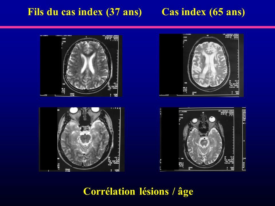 Corrélation lésions / âge Fils du cas index (37 ans)Cas index (65 ans)