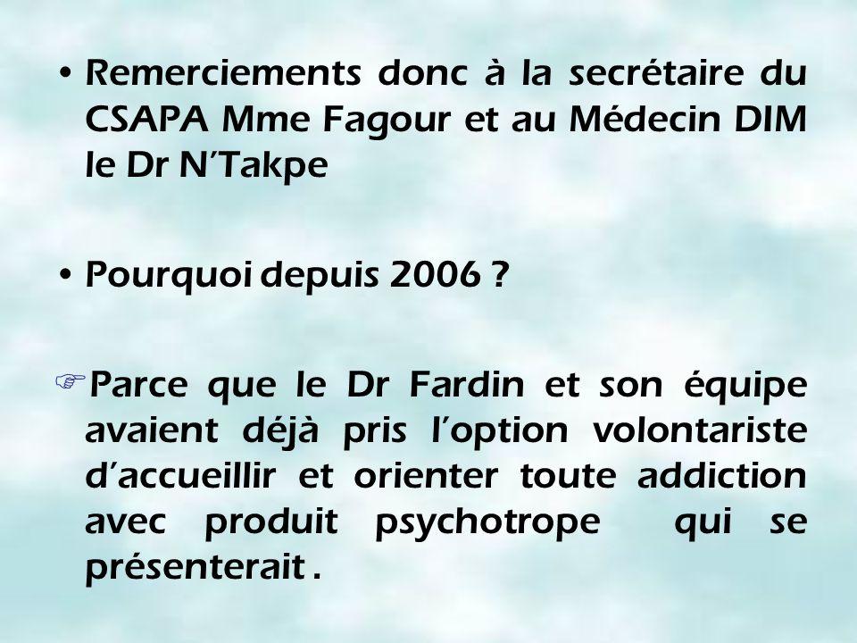 Remerciements donc à la secrétaire du CSAPA Mme Fagour et au Médecin DIM le Dr NTakpe Pourquoi depuis 2006 ? Parce que le Dr Fardin et son équipe avai