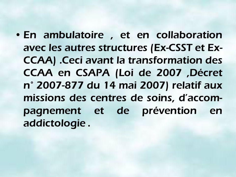En ambulatoire, et en collaboration avec les autres structures (Ex-CSST et Ex- CCAA).Ceci avant la transformation des CCAA en CSAPA (Loi de 2007,Décre