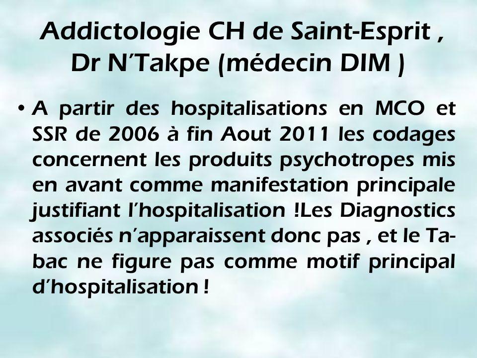 Addictologie CH de Saint-Esprit, Dr NTakpe (médecin DIM ) A partir des hospitalisations en MCO et SSR de 2006 à fin Aout 2011 les codages concernent l