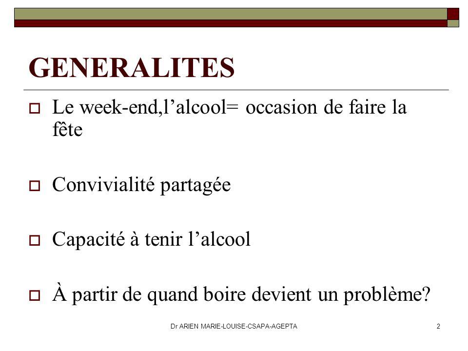 Dr ARIEN MARIE-LOUISE-CSAPA-AGEPTA2 GENERALITES Le week-end,lalcool= occasion de faire la fête Convivialité partagée Capacité à tenir lalcool À partir