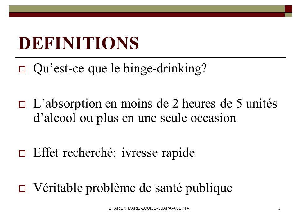 Dr ARIEN MARIE-LOUISE-CSAPA-AGEPTA3 DEFINITIONS Quest-ce que le binge-drinking? Labsorption en moins de 2 heures de 5 unités dalcool ou plus en une se
