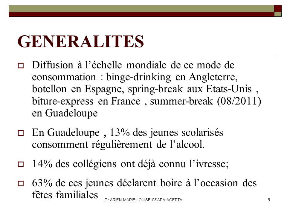 Dr ARIEN MARIE-LOUISE-CSAPA-AGEPTA5 GENERALITES Diffusion à léchelle mondiale de ce mode de consommation : binge-drinking en Angleterre, botellon en E