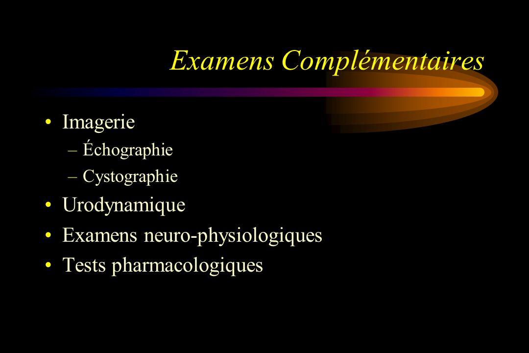 Examens Complémentaires Imagerie –Échographie –Cystographie Urodynamique Examens neuro-physiologiques Tests pharmacologiques