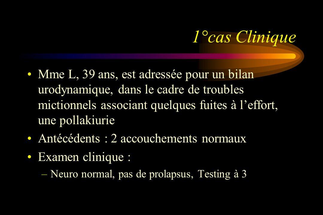 1°cas Clinique Mme L, 39 ans, est adressée pour un bilan urodynamique, dans le cadre de troubles mictionnels associant quelques fuites à leffort, une