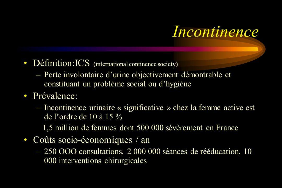Incontinence Définition:ICS (international continence society) –Perte involontaire durine objectivement démontrable et constituant un problème social