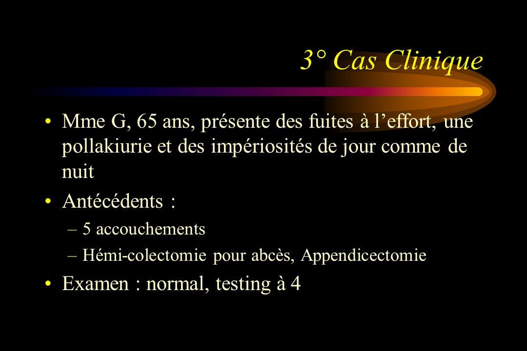 3° Cas Clinique Mme G, 65 ans, présente des fuites à leffort, une pollakiurie et des impériosités de jour comme de nuit Antécédents : –5 accouchements