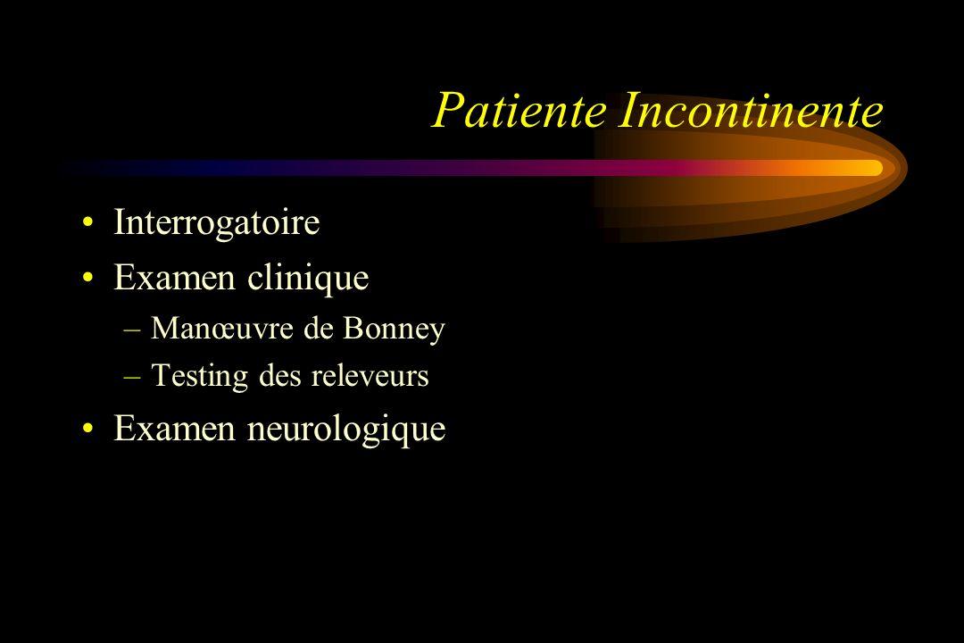 Patiente Incontinente Interrogatoire Examen clinique –Manœuvre de Bonney –Testing des releveurs Examen neurologique