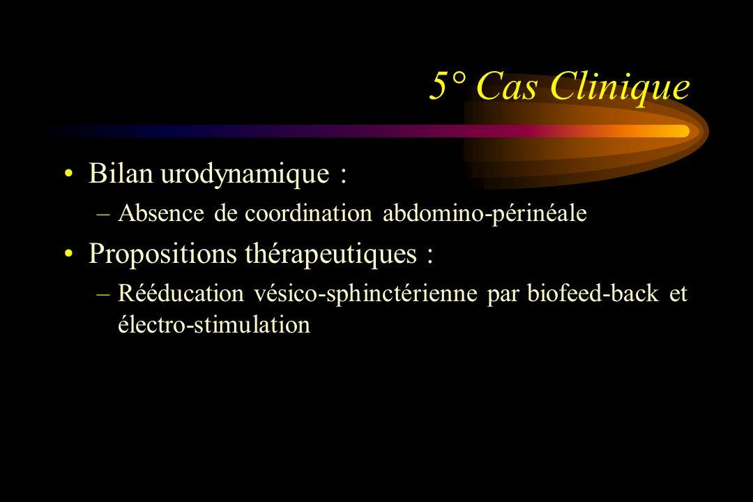5° Cas Clinique Bilan urodynamique : –Absence de coordination abdomino-périnéale Propositions thérapeutiques : –Rééducation vésico-sphinctérienne par