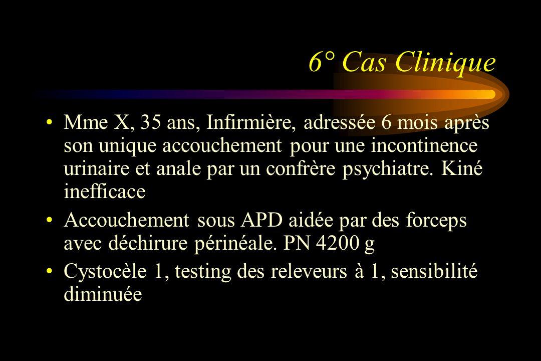 6° Cas Clinique Mme X, 35 ans, Infirmière, adressée 6 mois après son unique accouchement pour une incontinence urinaire et anale par un confrère psych
