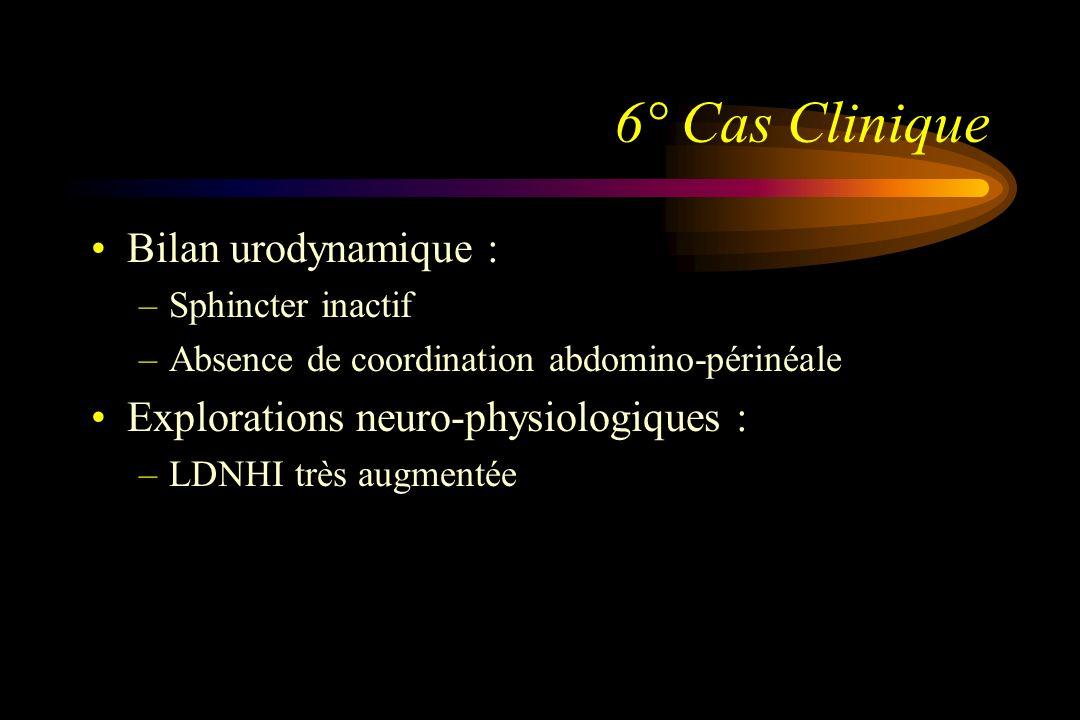6° Cas Clinique Bilan urodynamique : –Sphincter inactif –Absence de coordination abdomino-périnéale Explorations neuro-physiologiques : –LDNHI très au