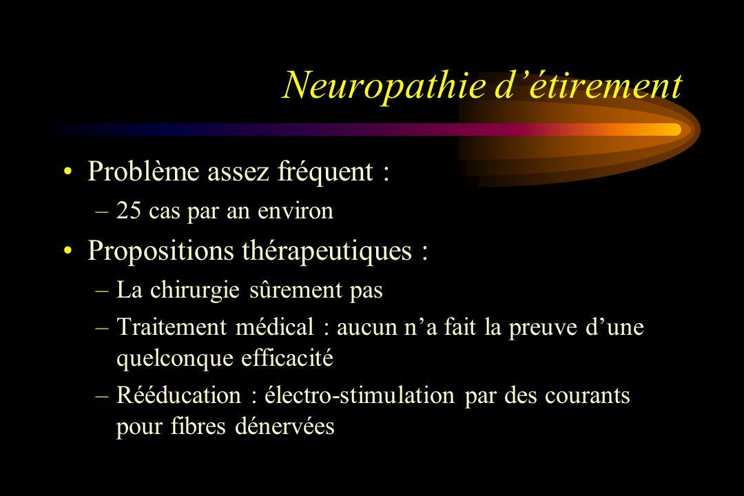 Neuropathie détirement Problème assez fréquent : –25 cas par an environ Propositions thérapeutiques : –La chirurgie sûrement pas –Traitement médical :