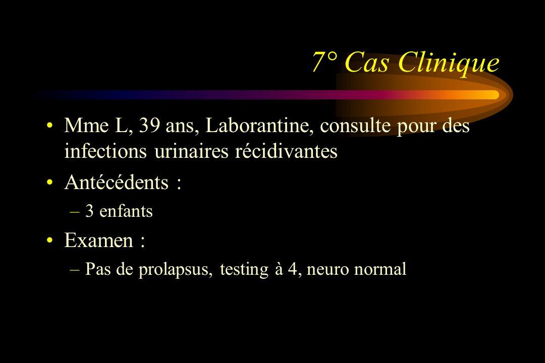 7° Cas Clinique Mme L, 39 ans, Laborantine, consulte pour des infections urinaires récidivantes Antécédents : –3 enfants Examen : –Pas de prolapsus, t