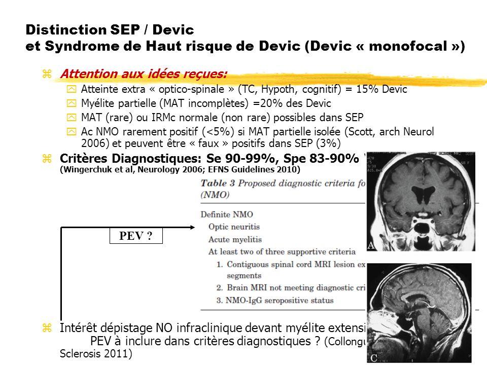 Distinction SEP / Devic et Syndrome de Haut risque de Devic (Devic « monofocal ») z Attention aux idées reçues: yAtteinte extra « optico-spinale » (TC