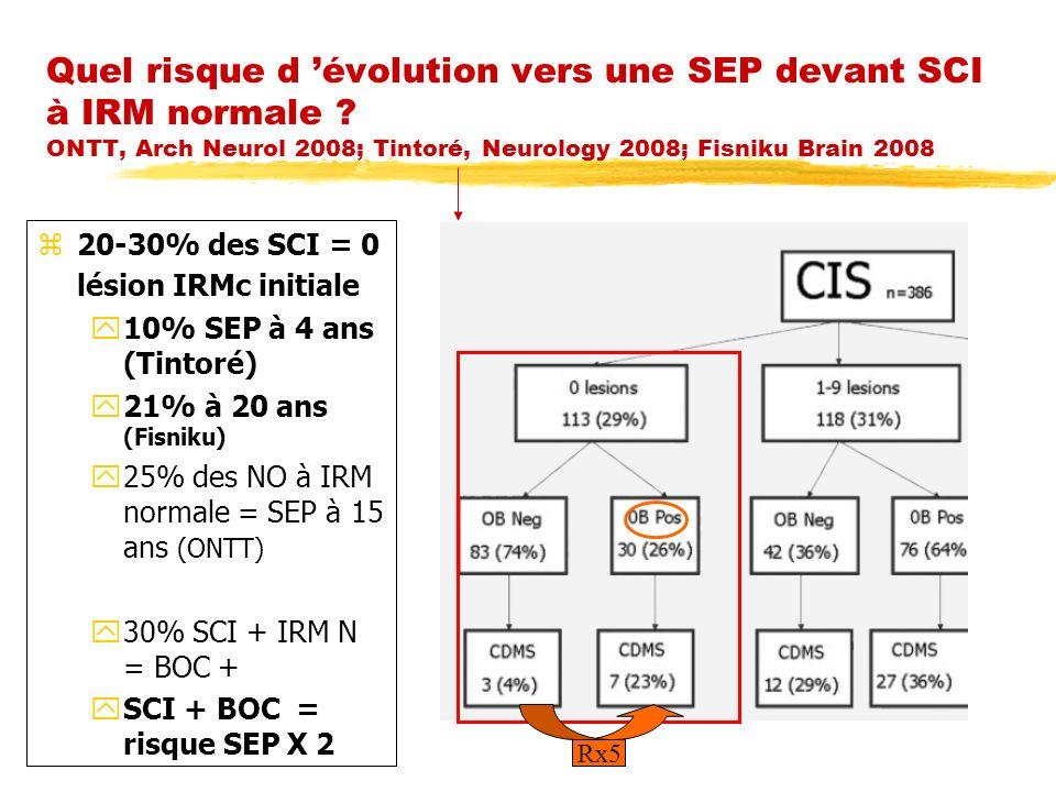 Quel risque d évolution vers une SEP devant SCI à IRM normale ? ONTT, Arch Neurol 2008; Tintoré, Neurology 2008; Fisniku Brain 2008 z20-30% des SCI =