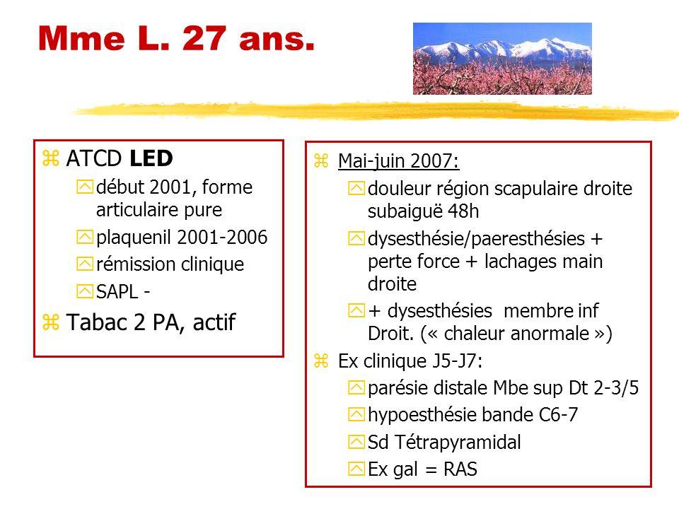 Mme L. 27 ans. zATCD LED ydébut 2001, forme articulaire pure yplaquenil 2001-2006 yrémission clinique ySAPL - zTabac 2 PA, actif z Mai-juin 2007: ydou