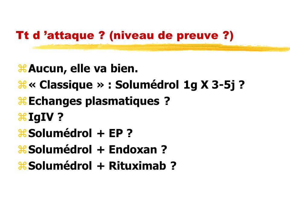 Tt d attaque ? (niveau de preuve ?) zAucun, elle va bien. z« Classique » : Solumédrol 1g X 3-5j ? zEchanges plasmatiques ? zIgIV ? zSolumédrol + EP ?