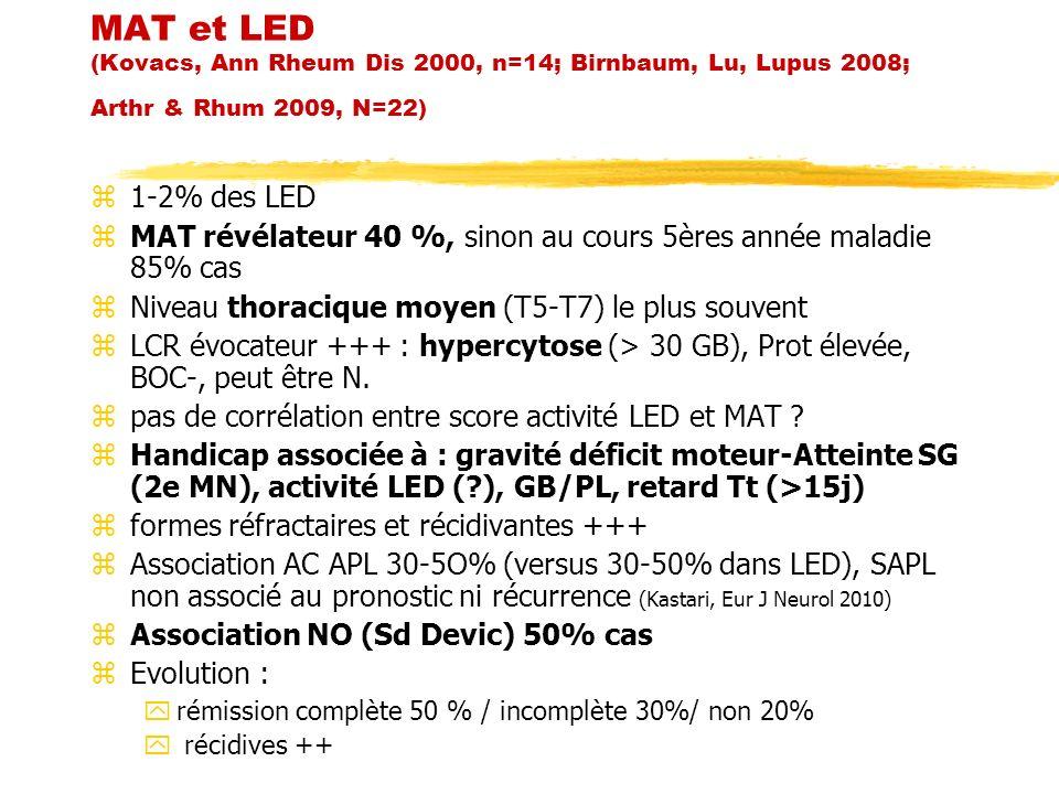 MAT et LED (Kovacs, Ann Rheum Dis 2000, n=14; Birnbaum, Lu, Lupus 2008; Arthr & Rhum 2009, N=22) z1-2% des LED zMAT révélateur 40 %, sinon au cours 5è