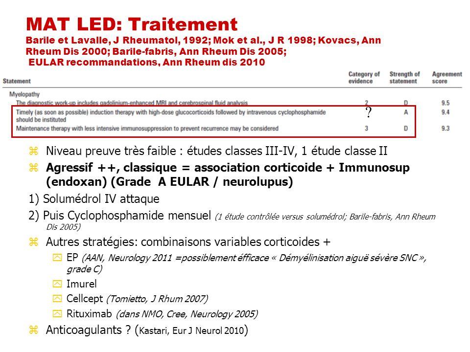 MAT LED: Traitement Barile et Lavalle, J Rheumatol, 1992; Mok et al., J R 1998; Kovacs, Ann Rheum Dis 2000; Barile-fabris, Ann Rheum Dis 2005; EULAR r