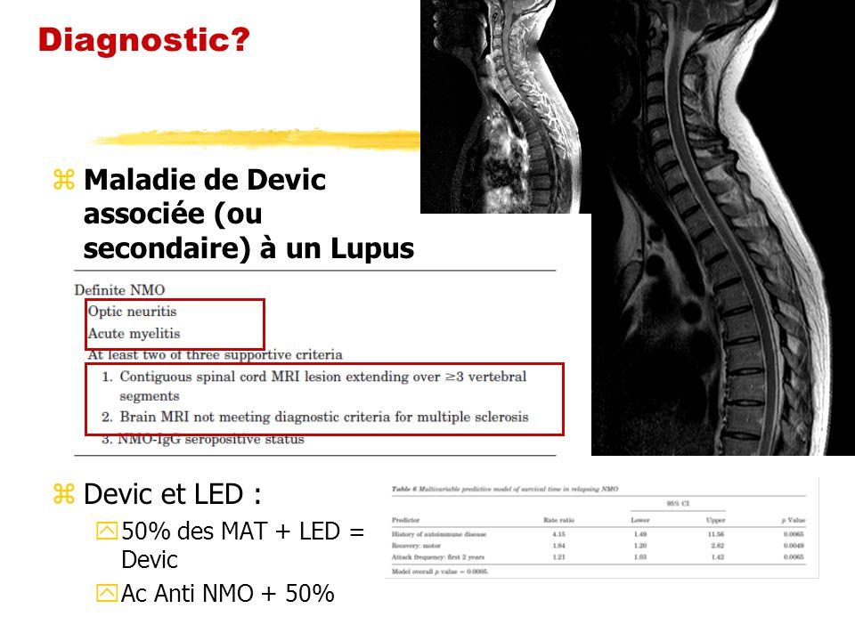 zMaladie de Devic associée (ou secondaire) à un Lupus zDevic et LED : y50% des MAT + LED = Devic yAc Anti NMO + 50%