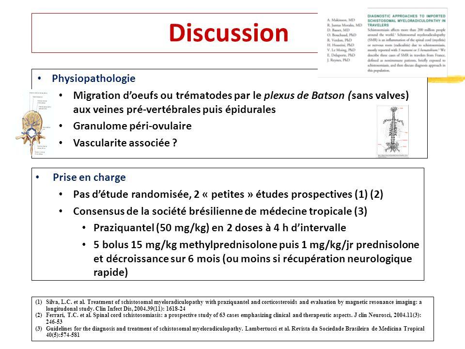 Discussion Prise en charge Pas détude randomisée, 2 « petites » études prospectives (1) (2) Consensus de la société brésilienne de médecine tropicale