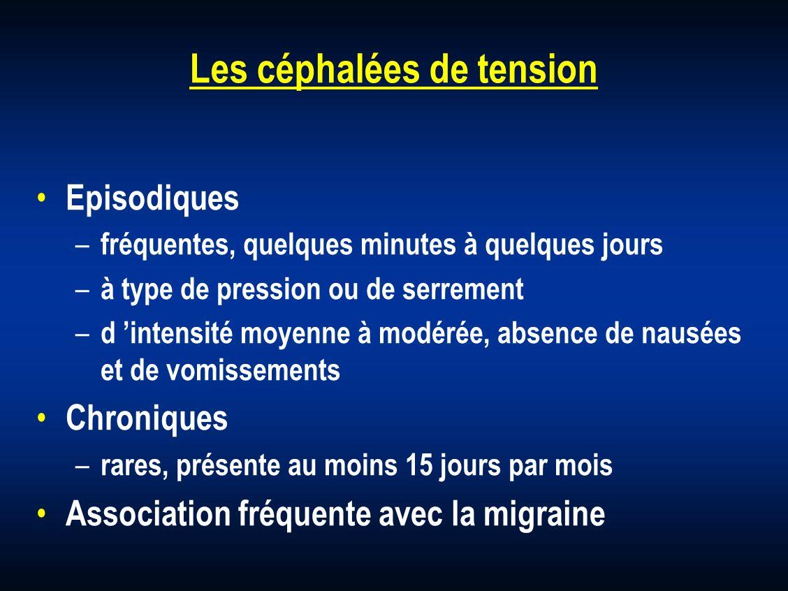 Les céphalées de tension Episodiques – fréquentes, quelques minutes à quelques jours – à type de pression ou de serrement – d intensité moyenne à modé