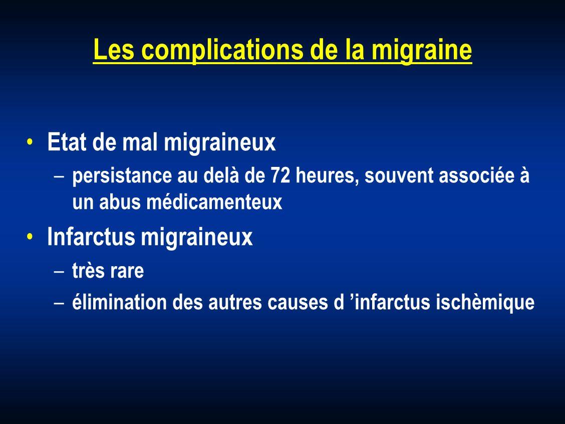 Les complications de la migraine Etat de mal migraineux – persistance au delà de 72 heures, souvent associée à un abus médicamenteux Infarctus migrain