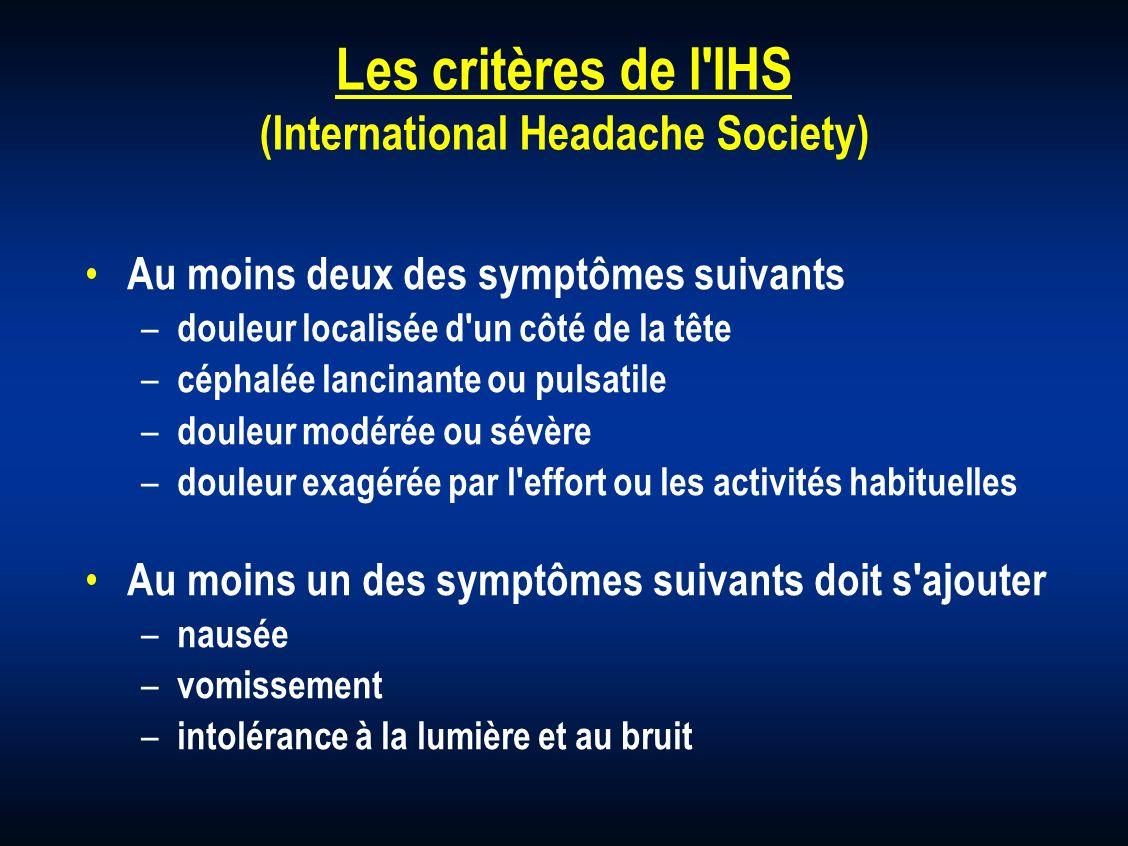 Les critères de l'IHS (International Headache Society) Au moins deux des symptômes suivants – douleur localisée d'un côté de la tête – céphalée lancin
