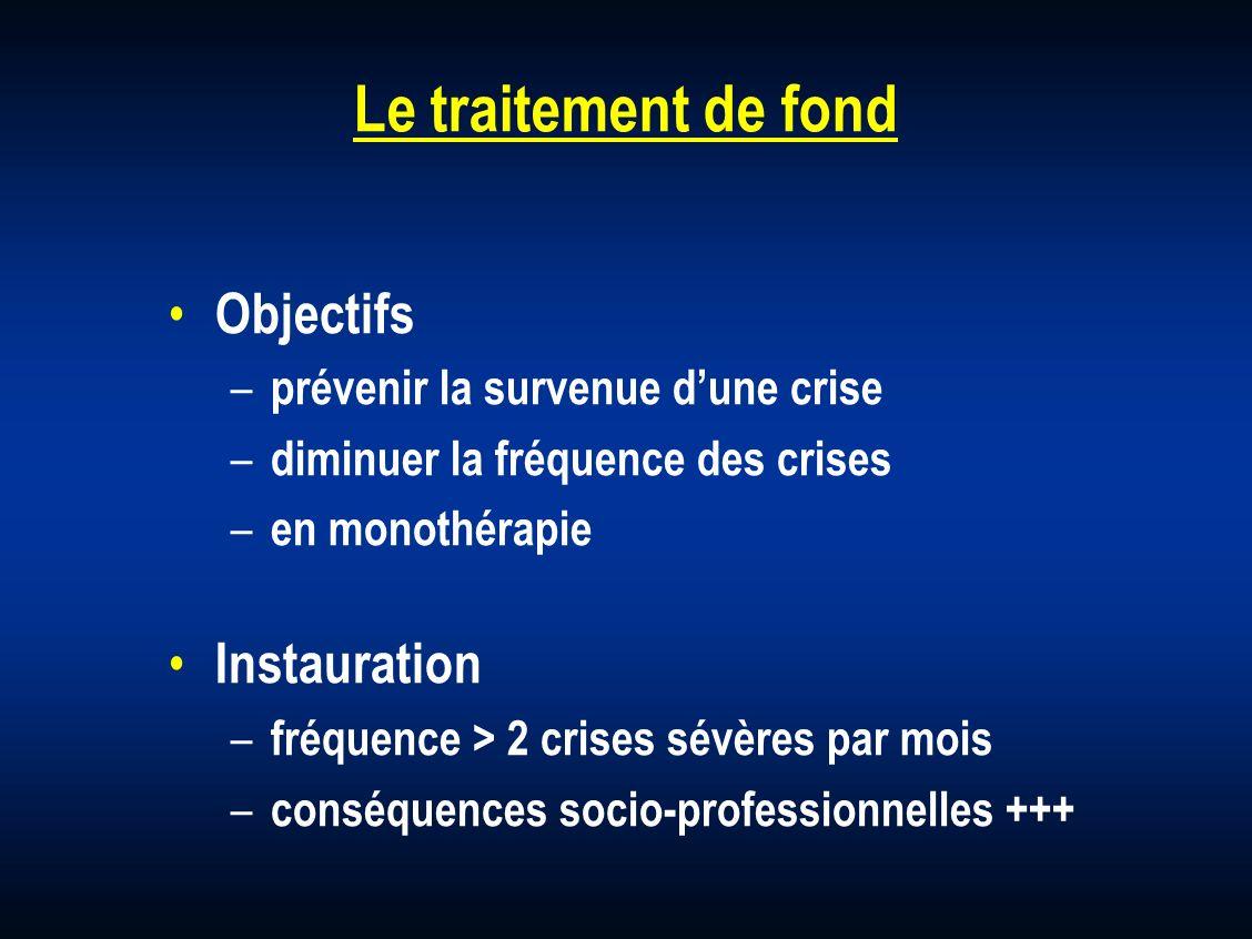 Le traitement de fond Objectifs – prévenir la survenue dune crise – diminuer la fréquence des crises – en monothérapie Instauration – fréquence > 2 cr