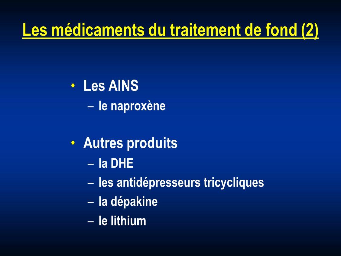 Les médicaments du traitement de fond (2) Les AINS – le naproxène Autres produits – la DHE – les antidépresseurs tricycliques – la dépakine – le lithi