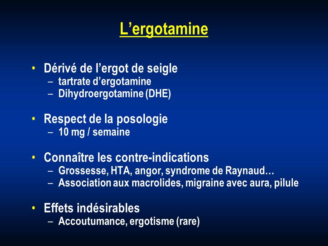 Lergotamine Dérivé de lergot de seigle – tartrate dergotamine – Dihydroergotamine (DHE) Respect de la posologie – 10 mg / semaine Connaître les contre